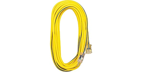 Voltec 05-00366 12//3 SJTW Outdoor Extension Cord with Lighted End 100-Foot Yellow with Blue Stripe