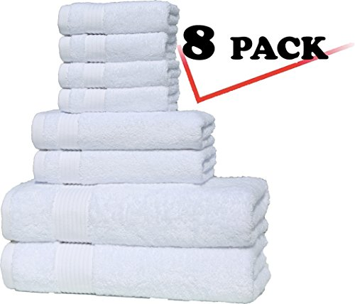 Premium, Turkish Combed Cotton, Luxury Hotel & Spa Towel Sets for Maximum Softness and Absorbency by American Soft Linen, (8 Pack Towel Set, Snow White)