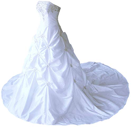 (RohmBridal Women's Strapless Taffeta Wedding Dress Bridal Gown Chapel Train White Size 14)