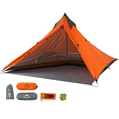 Naturehike Ultralight Pyramid Tent 1 Person Backpacking Orange Teepee Waterproof Wind-firm(exclude alpenstock) (Orange)