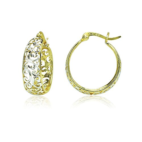 Sterling Silver Two-Tone Diamond-cut Filigree Swirl Hoop Earrings (Two Tone Small Girl)