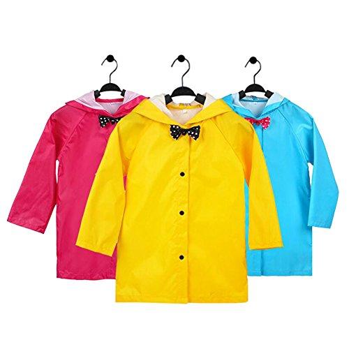 Meijunter Rainwear Poncho for Kid Girls - Bowknot Lightweight Hooded Raincoat