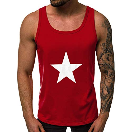 JJLIKER Men's Graphic Casual Training Sports Tank Top Shirt Sleeveless Tees for Gym Fitness Bodybuilding Running Jogging Red