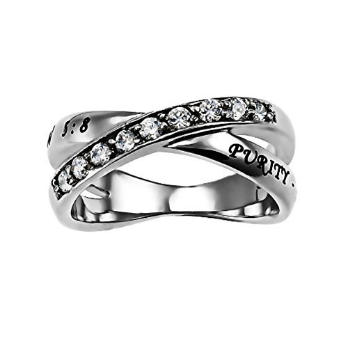 Purity Radiance Ring Silver Stainless Steel Cubic Zirconium With Verse Matthew 5:8