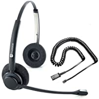 Professional Double Ear Noise Canceling Call Center / Office Headset With Bottom Cable For Avaya Phone Models 1608, 1616, 9601, 9608, 9611, 9611G, 9620, 9620C, 9620L, 9621, 9630, 9640