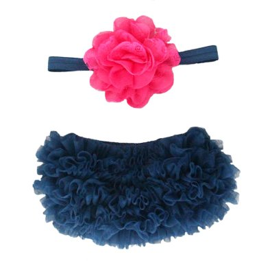 Ruffle Bloomer & Lace Flower Infant Headband Set, Newborn Baby Girl, Navy Blue and Hot Pink