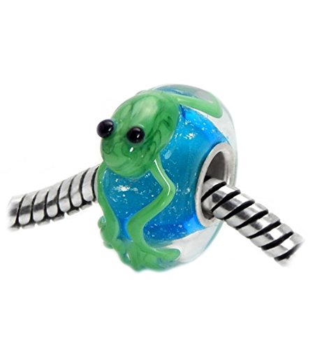 J&M 3D Handmade Green Frog on Blue Murano Glass Charm Bead for Bracelets
