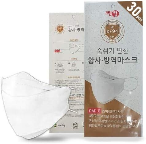Ever Green [Clean Top] Korea White KF94 Face Mask, Premium 3D Adults Disposable, KF94 Mask, KF94 Masks, KF94 Korea Masks.