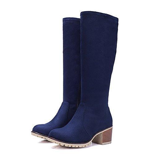 Toe AgooLar Women's Kitten Round Heels Solid Boots PU Blue Zipper cTYrdTwq