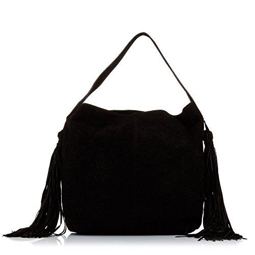 FIRENZE ARTEGIANI. Bolso shopping bag de mujer piel auténtica.Bolso hombro cuero genuino piel GAMUZA.Bolso flecos. Bolso Boho mujer. Made in ITALY. VERA PELLE ITALIANA. 42x34x12 cm. Color GRIS CLARO Negro