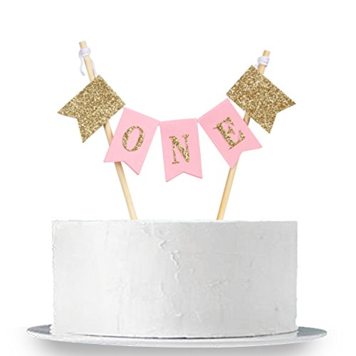 INNORU Handmade ONE First Birthday Cake Topper - 1st Birthday Cake Bunting for Baby Girl Party Supplies