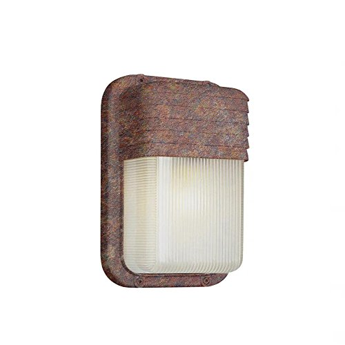 Transglobe Lighting PL-41105 RT Outdoor Bulkhead Fixture with Clear Ribbed Polycarbonate Shade, Rust Finished Review