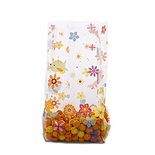 Spring Birds Flowers Sweet Tweet Cello Bags 4'' x 2 1/2'' x 9 1/2'' - Pack of 25 by Magical Times 808