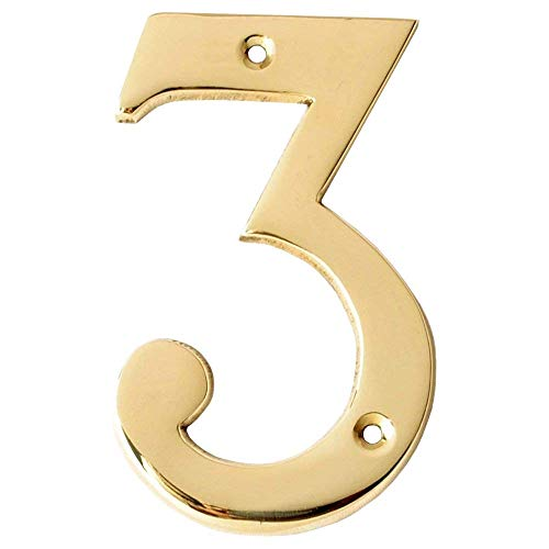 (Motif Collection Premium 4-Inch Polished Brass Finish House Door Number (Number 3))