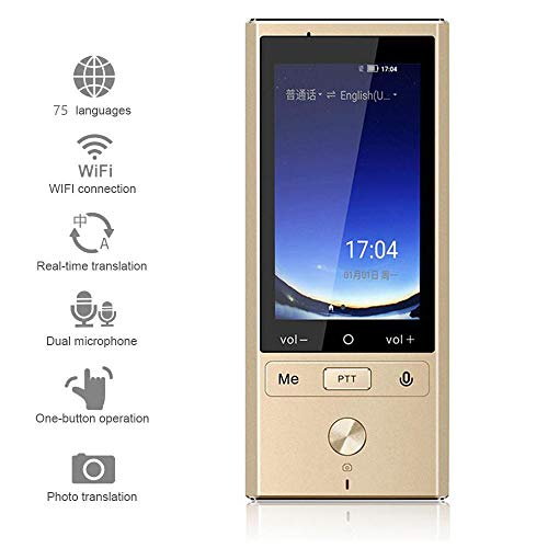 SONADY Smart Language Translator Device, 75 Language Translation Supports 8 Countries Offline 4G WiFi Intelligent Voice Photo for Learning Traveling,Gold