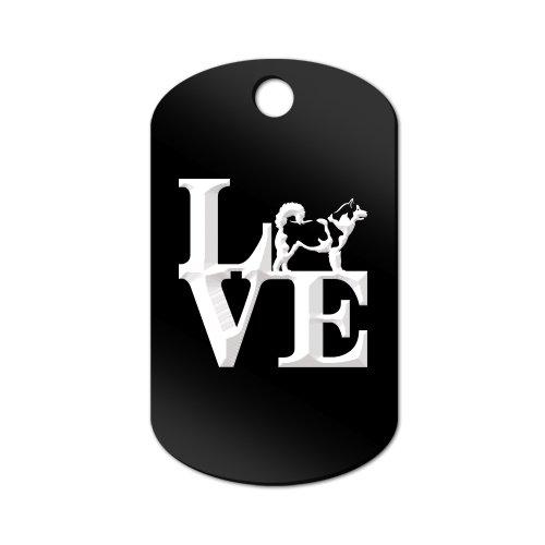Keychain Dog Malamute Alaskan - Love Alaskan Malamute Engraved Keychain / GI Tag Mister Petlife park mally Black