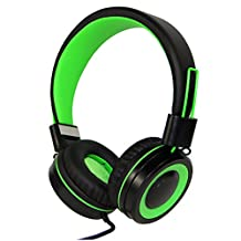 RockPapa Over Ear Adjustable Folding Foldable Headphones Headsets with Microphone for Smart Phones Android Tablets Computer iPad iPod MP3/4 DVD (Black/Green)