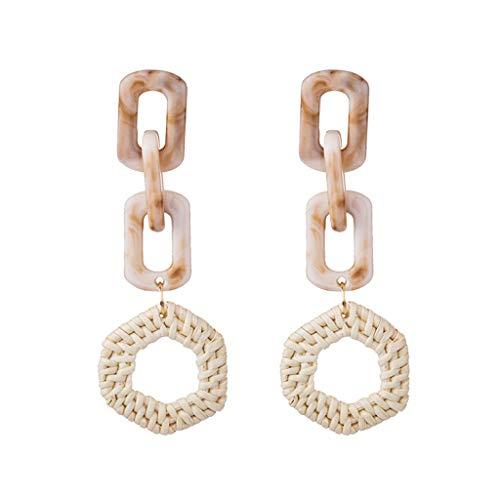 Gleamfut Women's Acrylic Geometric Weaving Rattan Stud Earring Multilayer Nesting Ladies Jewelry