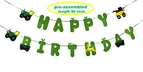 Green Tractor Birthday Banner - decorations - party supplies - party banners - john deere (Deere Banner Birthday John)