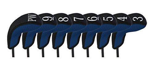 (Stealth Club Covers 18060 Hybrid Set 3-PW Golf Club Head Cover (8-Piece), Navy Blue Solid/Black Trim)