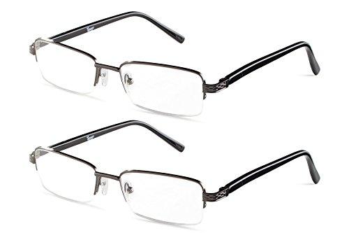 Half Rimmed Rectangular 2 Gunmetal Reading Glasses +1.75 - Glasses Metal Reading