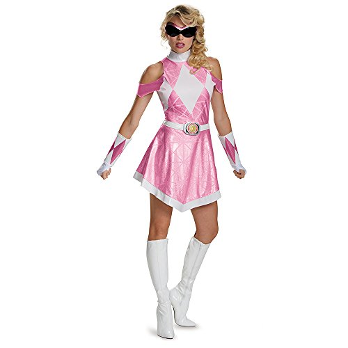 Disguise Women's Pink Ranger Sassy Deluxe Costume, Pink, Large ()