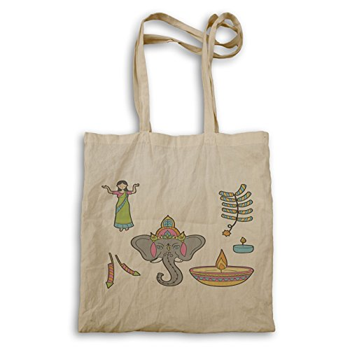 Diwali Retro Vintage Tote bag r449r by INNOGLEN