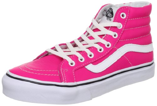 Vans U SK8-HI SLIM (NEON LEATHER) - Zapatilla alta de cuero unisex rosa - Pink ((Neon Leather))