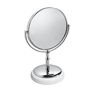 Mdesign free standing vanity makeup mirror for bathroom countertops white chrome for Free standing bathroom mirrors