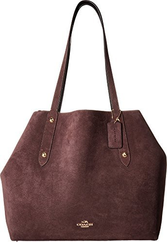 COACH Women's Suede Large Market Tote Li/Oxblood Black One Size -