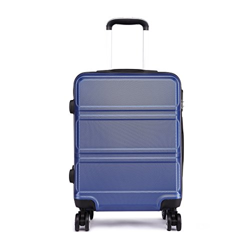 """Kono Cabin Suitcase 20"""" Hard Shell Light Weight ABS Hand Luggage 4 Wheel Spinner 360 Degrees Travel Trolley Case Navy"""