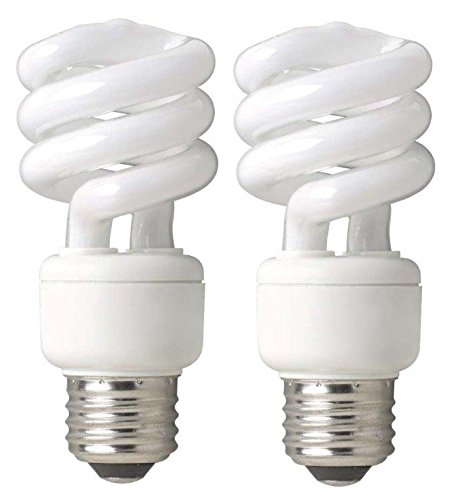 TCP 68914DL2 CFL Mini Spring A Lamp - 60 Watt Equivalent (only 14W used) Daylight (5000K) Standard Spiral Light Bulb - 2 pack