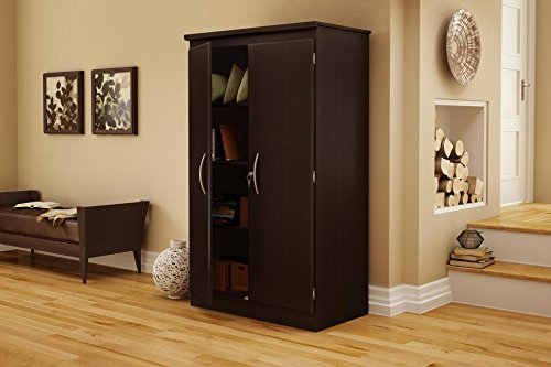 South Shore Tall 2-Door Storage Cabinet with Adjustable Shelves, Chocolate ()