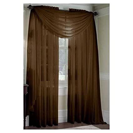 MONAGIFTS BROWN CHOCLATE Scarf Voile Window Panel Solid Sheer Valance Curtains 216quot