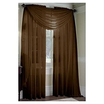 Curtains Ideas brown valance curtains : Amazon.com: MONAGIFTS BROWN CHOCLATE Scarf Voile Window Panel ...
