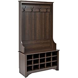 Prepac Hall Tree with Shoe Storage in Espresso Finish
