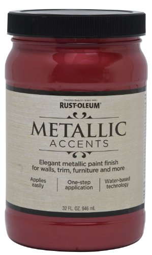 Rust-Oleum 253612 Metallic Accents Paint, Quart, Scarlet Red