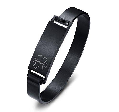 Vnox Free Engraving Stainless Steel Medical Symbol ID Tag Cuff Bangle Identification Bracelet,Black,8'' by VNOX