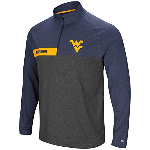 Colosseum Men's NCAA-No Mercy-1/4 Zip Pullover Windshirt-West Virginia Mountaineers-Heather Blue-XL