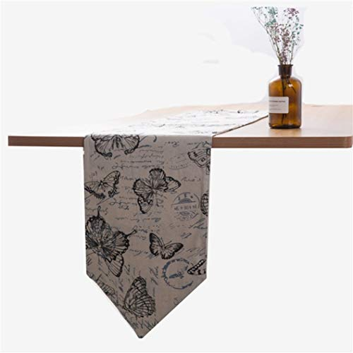 (DOCOLA Dinning Table Cloth Grey Butterfly Printed Table Runners Table Cover Tea Table Cloth for Party Wedding Decoration)