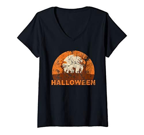 Womens Halloween Silhouette Sunset Creepy Graveyard V-Neck T-Shirt -