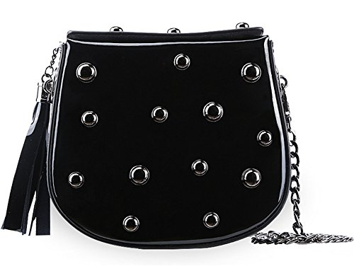 Bolsos de cuero de la Mujer Xinmaoyuan Candy hombro Cruz Sesgar remaches bolsos Cross-Painted Package,pintura negro Negro