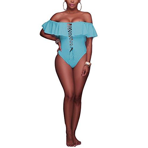 KINDOYO Verano Traje de Baño Tankini de una Pieza para Mujer-Ropa de Playa ropa de baño Bikini Colores Opcionales cielo Azul