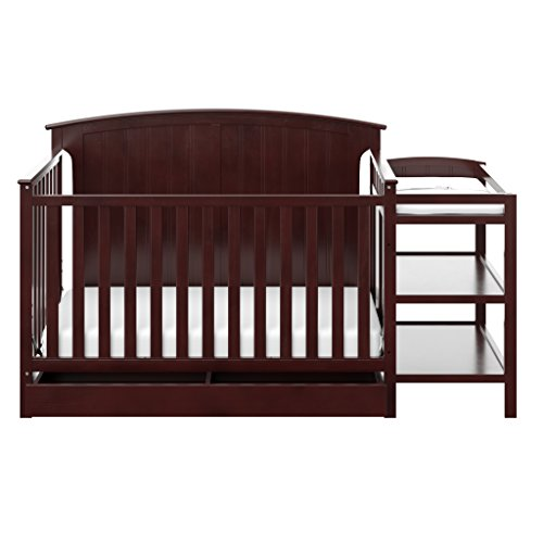 Storkcraft Steveston 4-in-1 Convertible Crib and Changer with Drawer, Espresso, Easily Converts to Toddler Bed, Day Bed or Full Bed, 3 Position Adjustable Height Mattress (Mattress Not Included)