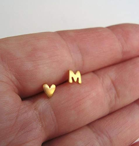(Heart Earring Solid Gold Initial Earring ONE PAIR 0.0009)