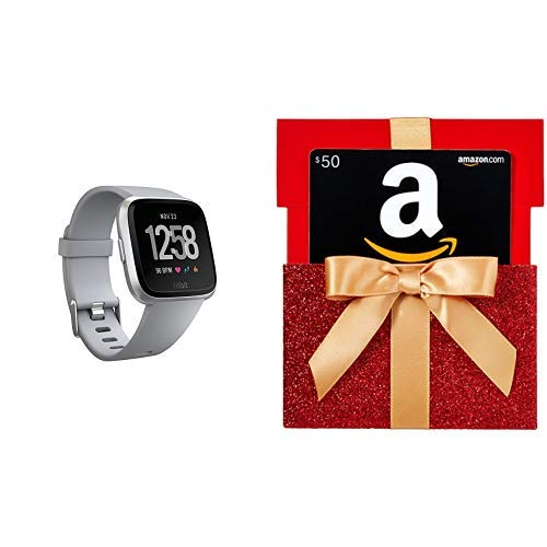 Fitbit Versa Smart Watch, Gray|Silver Aluminium, One Size (S & L Bands Included)  with $50 Gift Card