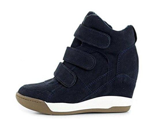 Sneakers Con Zeppa Da Donna Alte In Alto, Alto Sneakers A Tacco Alto Nascoste Fashion Nero Grigio Marrone Navy Blu Scuro