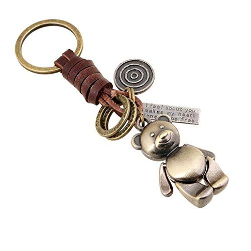 Viawow Little Bear Bag Purse Charm Keychain Leather Key Ring Chain(K198)