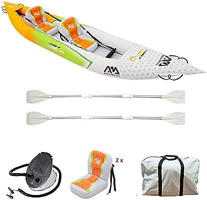 Set de Kayac inflable por 2 BETTA HM-K0 136 2 personas canoa para dos bote con remos, bomba, bolsa 412 x 80 cm naranja / verde