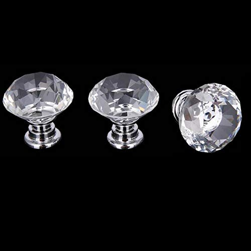 WOTOY Crystal Glass Cabinet Knobs 30mm Diamond Shape Drawer Cabinets Dresser Cupboard Wardrobe Pulls Handles 10 Pcs by WOTOY (Image #4)